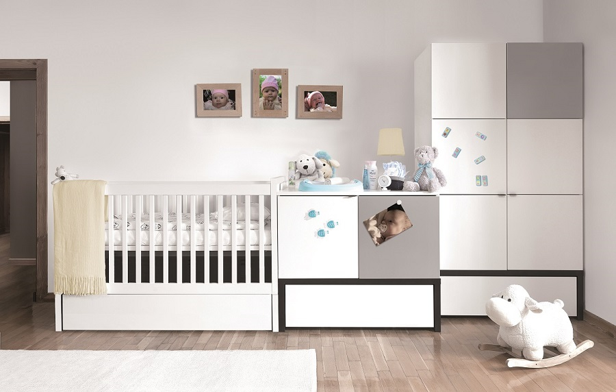 babyzimmer kinderzimmer black white wei babym bel set 8. Black Bedroom Furniture Sets. Home Design Ideas