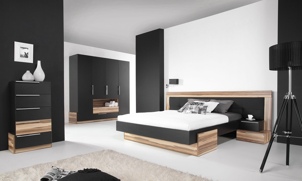 komplettes schlafzimmer set montana wei schwarz schrank bett nachttkonsolen ebay. Black Bedroom Furniture Sets. Home Design Ideas