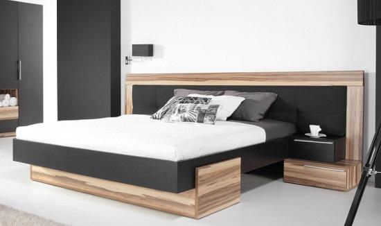 komplettes schlafzimmer set montana weiß & schwarz, schrank