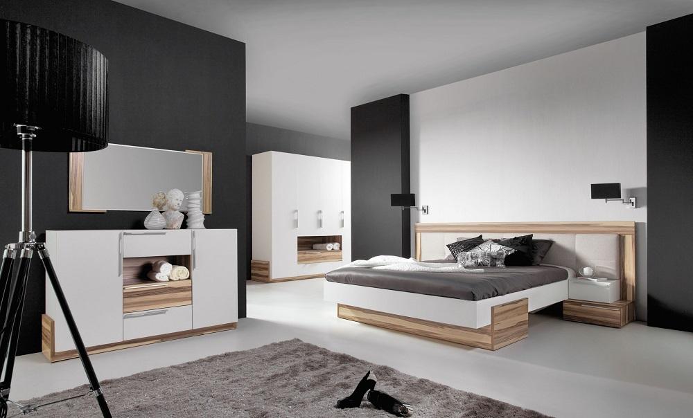 Komplettes Schlafzimmer Set MONTANA weiß & schwarz, Schrank Bett ...