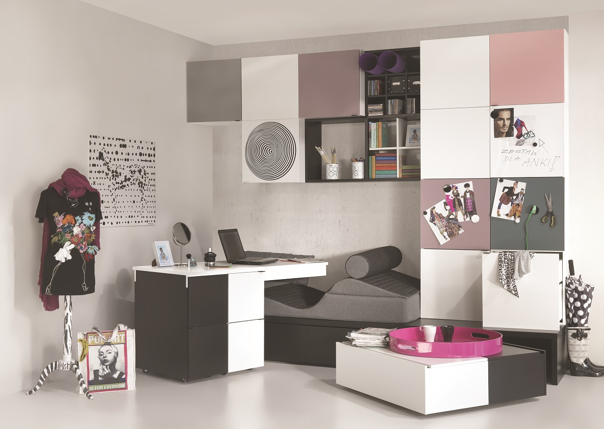 jugendzimmer set komplett black white qmm traummoebel. Black Bedroom Furniture Sets. Home Design Ideas