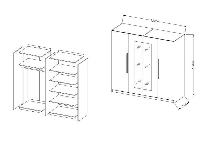 schlafzimmer verena 5 tg komplettset mit kommode schrank. Black Bedroom Furniture Sets. Home Design Ideas