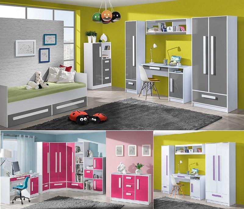 jugendzimmer kinderzimmer komplett hochglanz gerome set b wei grau rosa t rkis ebay. Black Bedroom Furniture Sets. Home Design Ideas