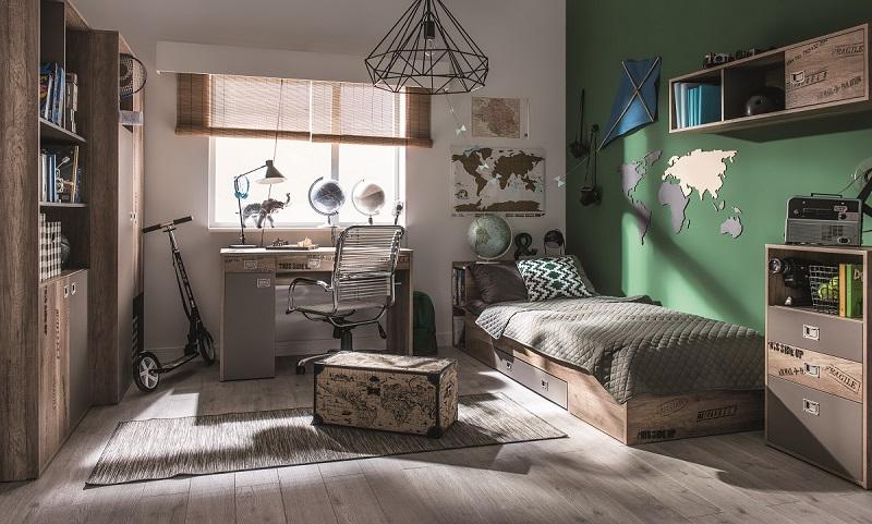 bett 200x90 mit regal und schublade karibik qmm traummoebel. Black Bedroom Furniture Sets. Home Design Ideas