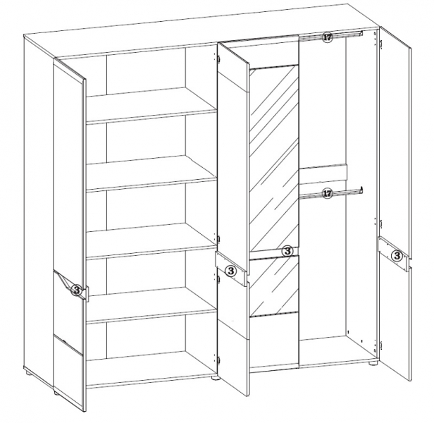 schrank 4 t rig linn qmm traummoebel. Black Bedroom Furniture Sets. Home Design Ideas