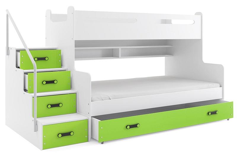 Hochbett Roxy weiß-grün für 2 Personen