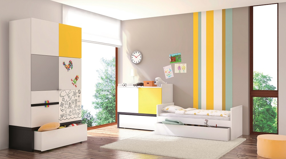 kinderbett 140x70 black white qmm traummoebel. Black Bedroom Furniture Sets. Home Design Ideas