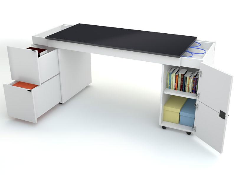 schreibtisch transformers mit schwarzer schreibtischplatte. Black Bedroom Furniture Sets. Home Design Ideas