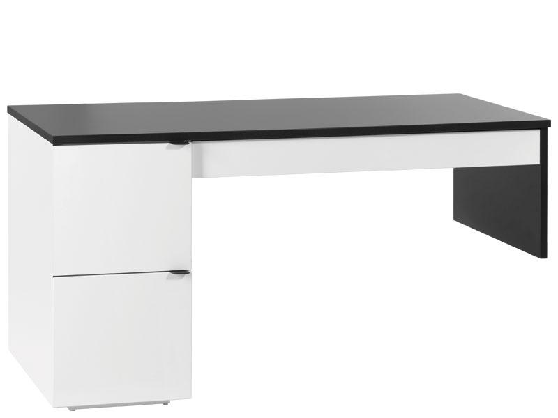 Schreibtisch l 140 black white ohne container qmm for Schreibtisch ohne schubladen