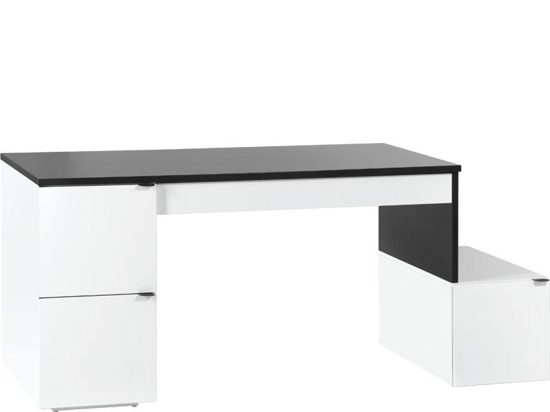 Schreibtisch l 140 black white ohne container qmm for Schreibtisch 140