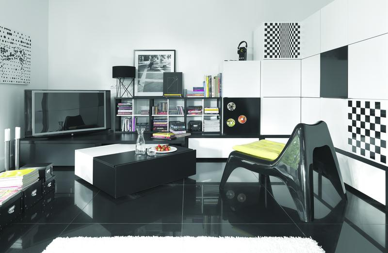 Couchtisch black white ohne podestelement qmm traummoebel for Jugendzimmer young users