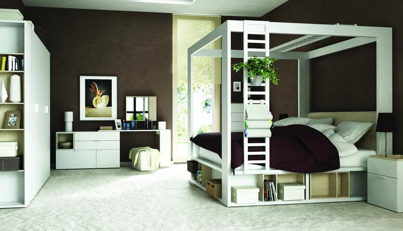 seitenleiter zum himmelbett 200x160 calgary qmm traummoebel. Black Bedroom Furniture Sets. Home Design Ideas