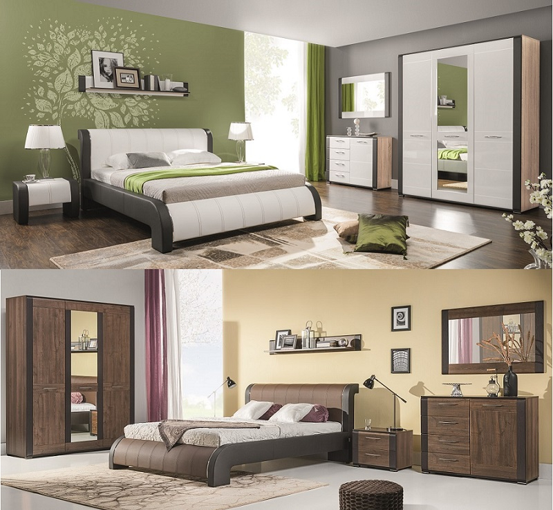 schlafzimmer komplett nell set b wei nu braun polsterbett kommode schrank nakos ebay. Black Bedroom Furniture Sets. Home Design Ideas