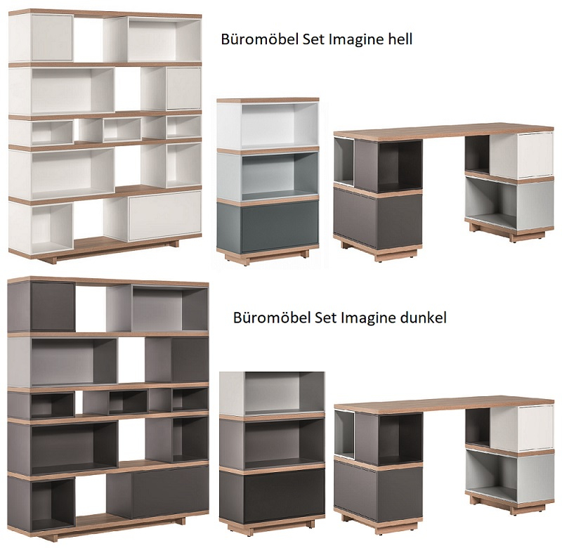 arbeitszimmer b roeinrichtung komplettb ro imagine schreibtisch regal kommode ebay. Black Bedroom Furniture Sets. Home Design Ideas