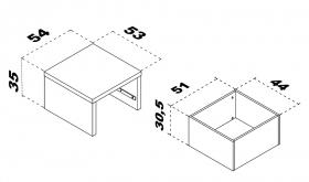 Podestelement 53x53 mit Schubkasten