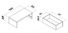 Podestelement 106x53 mit Schubkasten