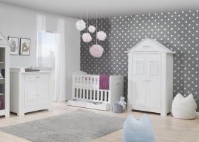 Babyzimmer Set B Saint-Tropez Weiß MDF
