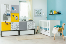 Schrank 2T Baby Black&White ohne Podestelement