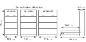 Schrankbett Wandbett vertikal VB 140x200