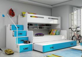 Hochbett Roxy weiß-blau für 3 Personen