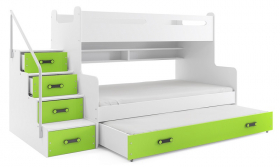 Hochbett Roxy weiß-grün für 3 Personen