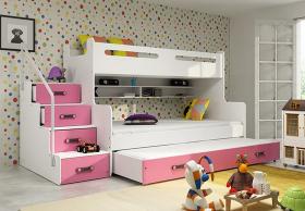 Hochbett Roxy weiß-rosa für 3 Personen