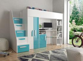 Hochbett mit Schreibtisch & Schrank Paris 4 weiß-türkis