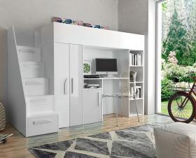 Hochbett mit Schreibtisch & Schrank Paris 4 weiß