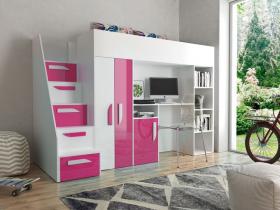 Hochbett mit Schreibtisch & Schrank Paris 4 weiß-rosa