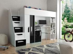 Hochbett mit Schreibtisch & Schrank Paris 4 weiß-schwarz