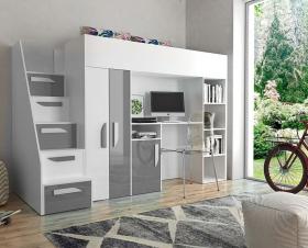 Hochbett mit Schreibtisch & Schrank Paris 4 weiß-grau