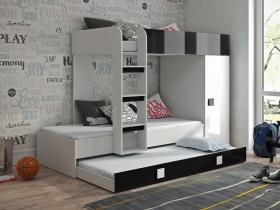 Hochbett mit Schrank Telly 2 weiß-schwarz hochglanz