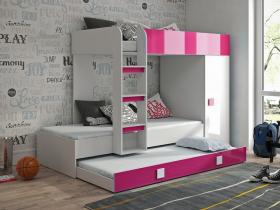 Hochbett mit Schrank Telly 2 weiß-rosa hochglanz