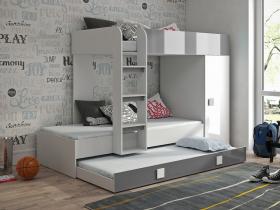 Hochbett mit Schrank Telly 2 weiß-grau hochglanz