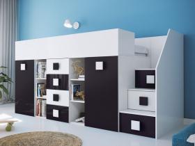 Hochbett mit Schreibtisch Telly 3 weiß-schwarz