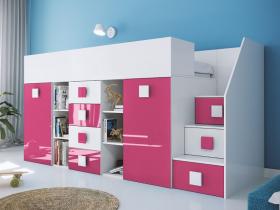 Hochbett mit Schreibtisch Telly 3 weiß-rosa