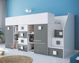 Hochbett mit Schreibtisch Telly 3 weiß-grau