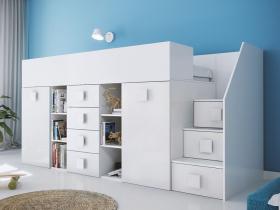 Hochbett mit Schreibtisch Telly 3 weiß