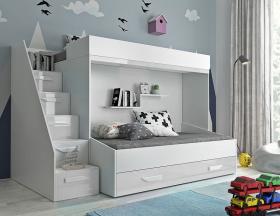 Hochbett für 2 Kinder Paris 6 weiß hochglanz