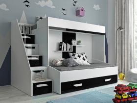 Hochbett für 2 Kinder Paris 6 weiß-schwarz hochglanz