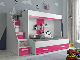 Hochbett für 2 Kinder Paris 6 weiß-rosa hochglanz