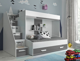 Hochbett für 2 Kinder Paris 6 weiß-grau hochglanz