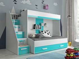 Hochbett für 2 Kinder Paris 6 weiß-türkis hochglanz