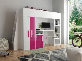 Hochbett mit Schreibtisch & Schrank Paris 5 weiß-rosa