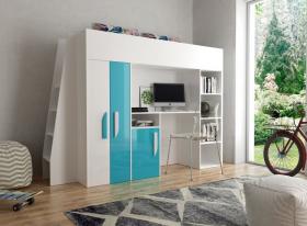 Hochbett mit Schreibtisch & Schrank Paris 5 weiß-türkis