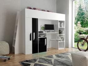 Hochbett mit Schreibtisch & Schrank Paris 5 weiß-schwarz