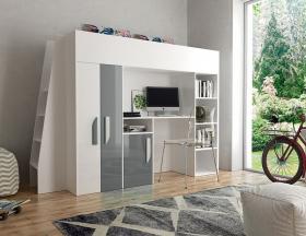 Hochbett mit Schreibtisch & Schrank Paris 5 weiß-grau