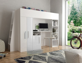Hochbett mit Schreibtisch & Schrank Paris 5 weiß