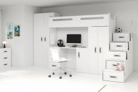 Hochbett Roxy 4 mit Schreibtisch & Schrank weiß
