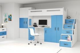 Hochbett Roxy 4 mit Schreibtisch & Schrank Blau-Weiß